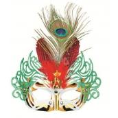 Škraboška plesová zlatá s červeným perím 30 cm