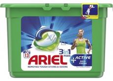 Ariel 3v1 Active Deo-Fresh gélové kapsule na pranie bielizne 13 kusov