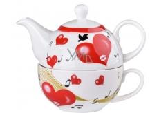 Emóciám Hrnček keramika s kanvičkou a šálkou srdca, set