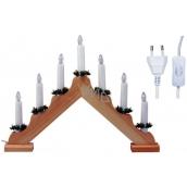 Emos Svícen dřevěný pyramida 40x20cm, 7LED teplá bílá+1,5m přívodní kabel s vypínačem