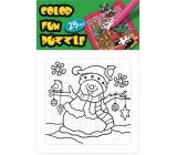 Omalovánky skládací vánoční motiv Sněhulák a ptáček 25 dílků 18 x 12 cm