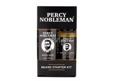 Percy Nobleman Šampón na fúzy 30 ml + vyživujúci olejový kondicionér na fúzy s vôňou Percy Nobleman 10 ml kozmetická sada pre mužov starostlivosti o fúzy a fúzy