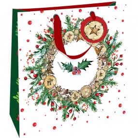 Nekupto Darčeková papierová taška luxusné 33 x 33 cm Vianočný veniec s cezmínou WLIL 1980