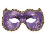 Škraboška plesová fialová s ornamenty 19 cm vhodná pro dospělé
