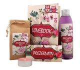 Bohemia Lovebook sprchový gel 200 ml + koupelová sůl 150 g + prezervativ 1 kus + svíčka 1 kus, kosmetická sada