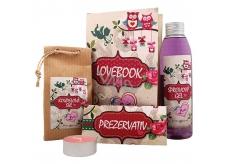 Bohemia Gifts Lovebook sprchový gél 200 ml + soľ do kúpeľa 150 g + prezervatív 1 kus + sviečka 1 kus, kozmetická sada