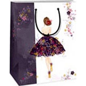 Ditipo Darčeková papierová taška 18 x 10 x 22,7 cm biela dievča v šatách