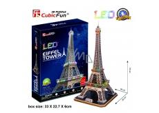 CubicFun Puzzle 3D Eiffelova veža LED svietiace 82 dielikov nočné edície 39 x 78 x 36 cm