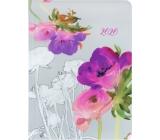 Albi Diár 2020 týždenný Akvarelové kvety 17 x 12,5 x 1,2 cm