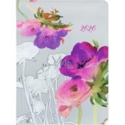 Diár B6 týždenný Akvarelové kvety šedá