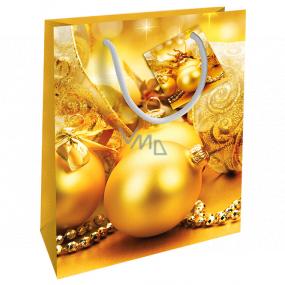 Nekupto Darčeková papierová taška 23 x 18 x 10 cm Vianočná zlatá banky WBM 1930 01