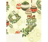 Nekupto Darčekový baliaci papier 70 x 500 cm Vianočný svetložltý zelenej, zlatej, červenej banky