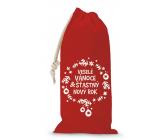 Nekupto Pytlík látkový na fľašu vianočné Veselé Vianoce & Šťastný nový rok červený 150 x 300 mm