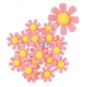 Kvety z filcu s Lepik ružové dekorácie 3,5 cm v krabičke 18 kusov