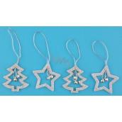Hvězda,strom,stříbrné glitrové na zavěšení 5 cm, 4 ks