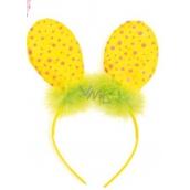 Čelenka uši s pierkom žltá bodka 23 cm