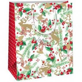 Ditipo Darčeková papierová taška 18 x 10 x 22,7 cm biela haluzka ihličie, cezmína, mašle C