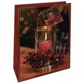 Nekupto Darčeková papierová taška 32,5 x 26 x 13 cm Vianočná červená so sviečkou WBL 1949 30
