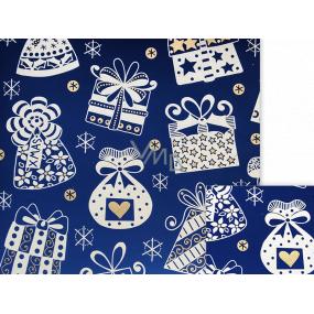 Nekupto Darčekový baliaci papier 70 x 200 cm Vianočné Modrý biele darčeky, zvončeky