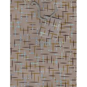 Nekupto Dárková papírová taška střední 23 x 18 x 10 cm šedo hnědá 013 70 GM