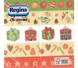 Regina Vianočné papierové obrúsky Pruhované-darčeky, banky, hviezdičky 1 vrstvové 33 x 33 cm 20 kusov