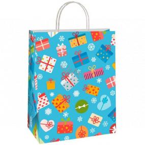 Ditipo Darčeková papierová taška EKO 22 x 10 x 29 cm modrá farebné darčeky