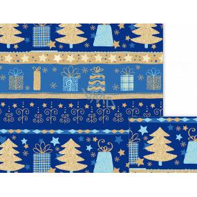 Nekupto Darčekový baliaci papier 70 x 500 cm Vianočné modrý pruhy, stromčeky, darčeky