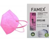 Famex Respirátor ústnej ochranný 5-vrstvový FFP2 tvárová maska ružová 1 kus