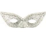 Škraboška s glitrami mačacie oči Strieborná vhodná pre dospelých 1 kus