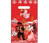 Anjel Igelitová taška 32 x 20 cm červená čert, Mikuláš, anjel, pes