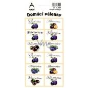 Arch Samolepky Domácí pálenky Slivovice 3521 12 etiket