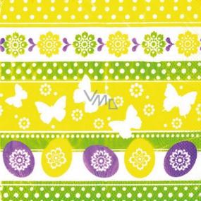 Ditipo Papierové obrúsky 3 vrstvové 33 x 33 cm 20 kusov Veľkonočné Vajíčka, motýle, kvetiny