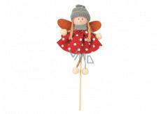 Anjel v puntíkatých šatách (červené) 11 cm + špajle