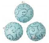 Banky modré s glitrami na zavesenie 8 cm, 3 kusy