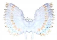 Krídla anjelská s perím bielo-zlatá 67 x 46 cm