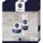 Nivea Men Sensitive Shave Kit voda po holení 100 ml + pena na holenie 200 ml, kozmetická sada pre mužov