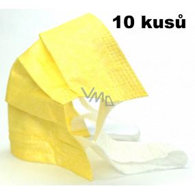 Rúška 3 vrstvová ochranná zdravotné netkaná jednorazová, nízky dýchací odpor 10 kusov žltá 99% sa širokými gumičkami