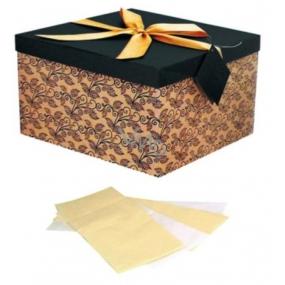 Anjel Darčeková krabička skladacia s mašľou tmavo hnedá s béžovou L 22 x 22 x 13 cm 1 kus
