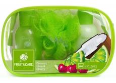 Idc Institute Fruit & Care Coconut, Lime & Cherry Cestovní set sprchový gel 100 ml + tělové mléko 100 ml + mycí houbička + etue, kosmetická sada