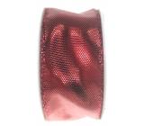 Ditipo Stuha látková s drôtikom červená lesklá 3 mx 25 mm
