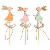 Zajačik drevený zápich 8 cm + špajle rôzne farby 1 kus