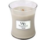 Woodwick Fireside - Oheň v krbe vonná sviečka s dreveným knôtom a viečkom sklo stredná 275 g