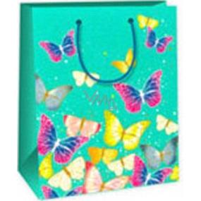Ditipo Darčeková papierová taška 18 x 10 x 22,7 cm svetlo zelená motýle