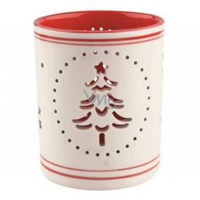 Svietnik keramický bielo-červený sa stromčekom 9 cm