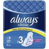 Always Classic Night hygienické vložky s křidélky 8 kusů