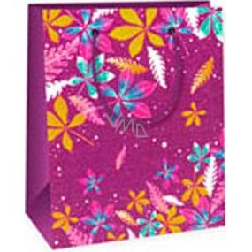 Ditipo Darčeková papierová taška 11,4 x 6,4 x 14,6 cm fialová farebné listy