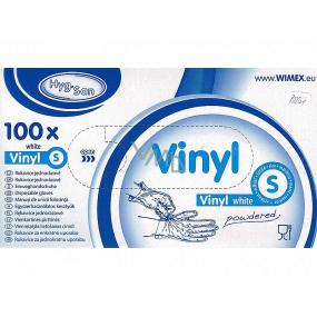 WIMEX Rukavice hygienické jednorázové vinylové púdrované biele, veľkosť S, box 100 kusov