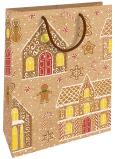 Nekupto Darčeková Kraftová taška 28 x 37 cm Vianočná Domčeky, perníčky 602 WKHL