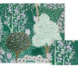 Nekupto Darčekový baliaci papier 70 x 150 cm Zelený so stromami