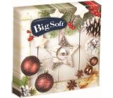 Big Soft Vianočné papierové obrúsky Hnedé ozdoby + biela hviezda 33 x 33 cm 2 vrstvové 20 kusov